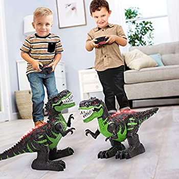 TEMI 8 Channels 2.4G Remote Control Dinosaur for Kids Boys Girls Electronic RC Toys Educational Walking Tyrannosaurus Rex with Lights and Sounds Powered by Rechargeable Battery 360° Rotation Stunt