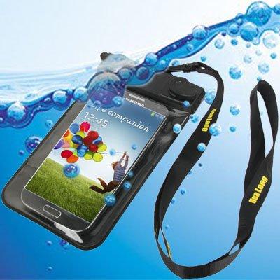 Liaoxig Carcasa de telefono Bolsa Impermeable con Correa y Brazalete for Galaxy S IV / i9500 (Gris) Carcasa de telefono (Color : Black)