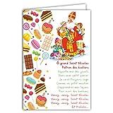 68-1102-A Carte Bonne Fête de Saint Nicolas 6 Décembre Paroles Chanson Patron des écoliers Enfants Sages Jouets Bonbons Sucreries Gourmandises Friandises