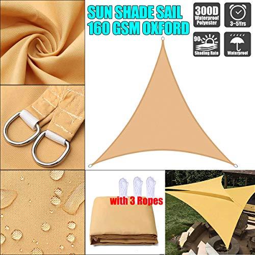 Lxf-xg Sun Sail Shade Triángulo,Parasol Canopy,Hecho de poliéster de Alto Grado, el 98% de protección Solar del Efecto, PU impregnadas, a Prueba de Polvo ya Prueba de Viento,Sand Yellow,6 * 6 * 6m