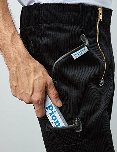 PIONIER WORKWEAR Herren Trenker-Garantiecord-Zunfthose mit Schlag in schwarz (Art.-Nr. 314) Größe 29
