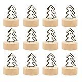 Amosfun - Clips para Tarjetas de felicitación (Base de Madera, 12 Unidades), diseño de árbol