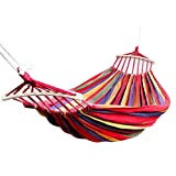 Baskety Double 2 Person Cotton Fabric Canvas Travel Hammocks 450 Lbs Ultralight Camping Hammock Portable Beach Swing Bed with Hardwood Spreader Bar Tree Hanging, 280 x 100 cm, Red