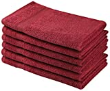 Beauty Threadz - Pack of 6 Hand Towels 100% Ring Spun Premium Cotton 16x28 inch Highly Absorbent, Ultra Soft & Fade Resistant 500 GSM Hotel & Spa Quality Multi Purpose Hand Towel Set (Burgundy)