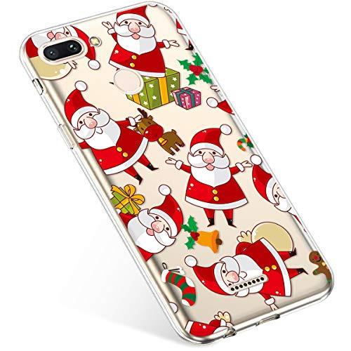 Uposao Coque pour Xiaomi Redmi 6 Etui Silicone TPU Souple Transparente Coque Noël Cerf Flocon de Neige père noël Sapin de Noël Elk Christmas Motif Ultra Mince Premium Hybrid Case Coque.