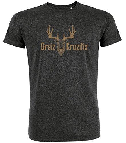 Trachten T-Shirt Greiz Kruzifix Bio Baumwolle S-3XL Trachtenshirt Oktoberfest Bayrisch Wiesn Lederhosen Männer Herren Hirsch Österreich (Darkgrey, L)