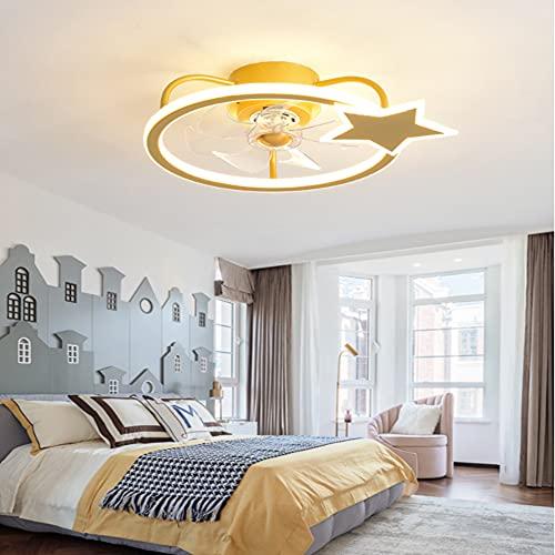 HAITOY Ventilador de Techo Luz con LED Iluminación, Luz de Techo de Estrella de Cinco Puntas, Moderno Regulable para Silencioso Niños Dormitorio Iluminación Decorativo,Oro