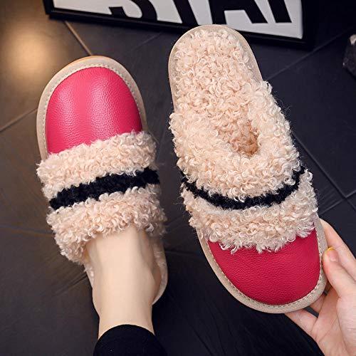 Nwarmsouth Zapatos de casa con Interior,Inicio Zapatos de Suela Gruesa de algodón, Zapatillas de Abrigo Antideslizantes-Rosa roja_34-35,Zapatillas de Hombre Durables y cómodas