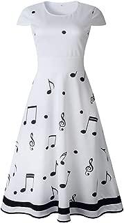 Photno Summer midi Dress for Women's White Printed Music O-Neck Short Sleeve Dress Dresses