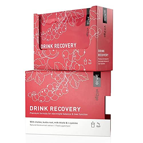 Vit2go DRINK RECOVERY (10 x) - Elettroliti in polvere | Disintossicazione e reidratazione del fegato |soluzione ideale dopo serate alcoliche | ricco di vitamine, magnesio, colina, radice di Kudzu