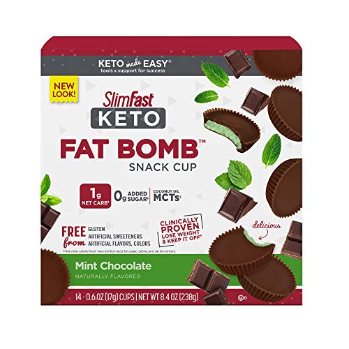 SlimFast Keto Fat Bomb Snacks - Mint Chocolate - 14 Count Box - Pantry Friendly