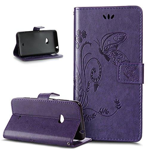 Kompatibel mit Nokia Lumia 625 Hülle,Nokia Lumia 625 Handyhülle,Prägung Groß Schmetterling Blumen PU Lederhülle Flip Hülle Ständer Karten Slot Wallet Tasche Hülle Schutzhülle für Nokia Lumia 625,Lila