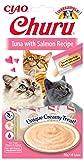 INABA Churu Sticks - Golosinas para Gatos Que se Pueden lamer para Alimentar con la Mano - Delicioso y Saludable refrigerio para Gatos - Atún y Salmón
