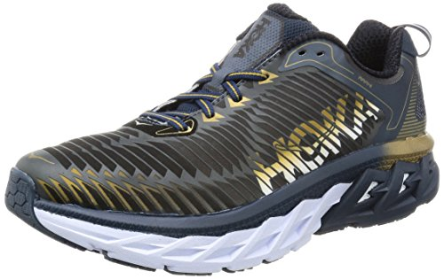 HOKA ONE ONE Mens Arahi Midnight Navy/Metallic Gold Running Shoe - 10 M