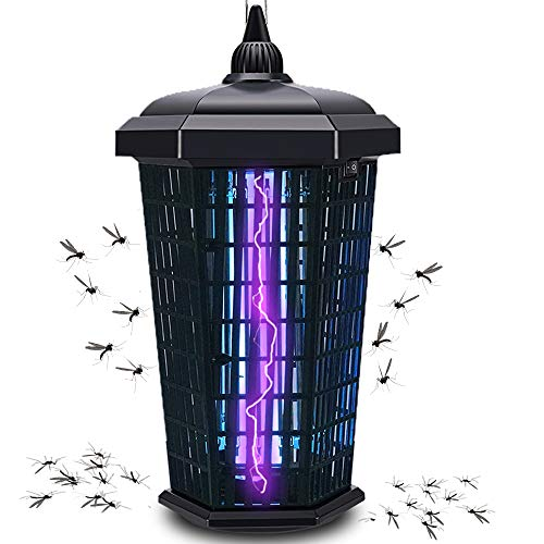 Bug Zapper Mosquito Trap Fly Killer, Electric uv Insect Lamp 4000v Catcher for Flies Dusk to Dawn Sensor Waterproof Outdoor Indoor - Electronic Light Bulb for Backyard, Patio Large, Home, Plug in