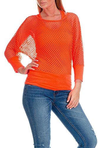 Freyday Damen Netzoberteil Sommertop Fasching Partytop in versch. Farben (S-M,Orange - Langarm)