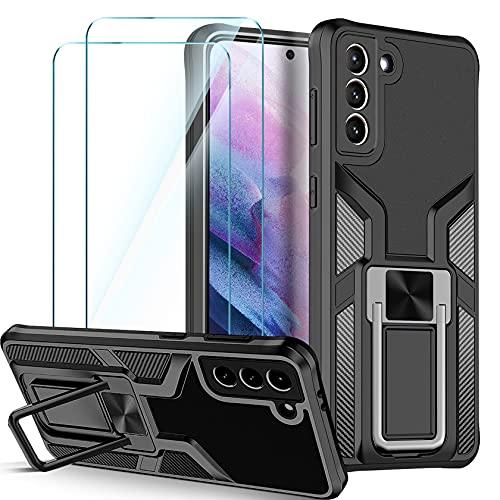 Leathlux Handyhülle Kompatibel mit Samsung Galaxy S21 5G Hülle & 2 Stück Panzerglas Schutzfolie, Stoßfest Anti-Kratzer Silikon TPU & PC Bumper Cover mit Ständer für Samsung S21 5G Schwarz