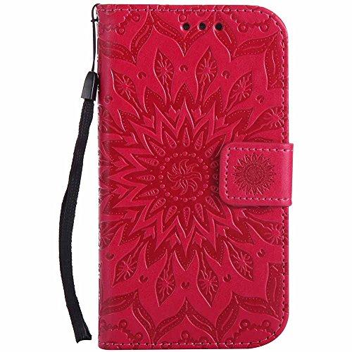 Dfly Galaxy S3 Hülle, Galaxy S3 Neo Hülle, Premium Slim PU Leder Mandala Blume prägung Muster Flip Hülle Bookstyle Stand Slot Schutzhülle Tasche Wallet Hülle für Samsung Galaxy S3 / S3 Neo, Rosen Rot
