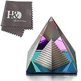H&D Kristall bunt Pyramide Glas Briefbeschwerer Kunst Dekor Ornament mit