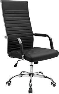 Furmax Ribbed Office Chair High Back PU Leather Executive Conference Chair Adjustable Swivel Chair with Arms (Black)
