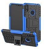 TiHen Handyhülle für Asus Zenfone Max M2 ZB633KL Hülle, 360 Grad Ganzkörper Schutzhülle + Panzerglas Schutzfolie 2 Stück Stoßfest zhülle Handys Tasche Bumper Hülle Cover Skin mit Ständer -Blau