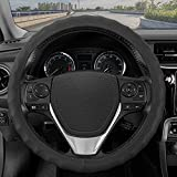 BDK Genuine Black Leather Steering Wheel Cover for Car, Small (13.5' - 14.5') – Ergonomic Comfort Grip for Men & Women, Universal Fit Car Steering Wheel Cover for Vehicles with Small Steering Wheels