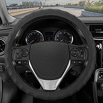 BDK Genuine Leather Car Steering Wheel Cover 13.5″-14.5″ (Small / Black)