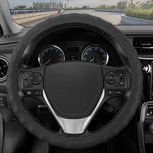 BDK Genuine Black Leather Steering Wheel Cover for Car, Medium (14.5' - 15.5') – Ergonomic Comfort Grip for Men & Women, Universal Fit Car Steering Wheel Cover for Most Vehicles