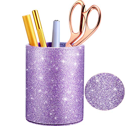 PU Glitter Pen Holder Pencil Cup Shiny for Women Girls, Luxury Makeup Brush Holder Pu Leather Organizer Cup Gift for Desk Office Classroom Home (Purple)