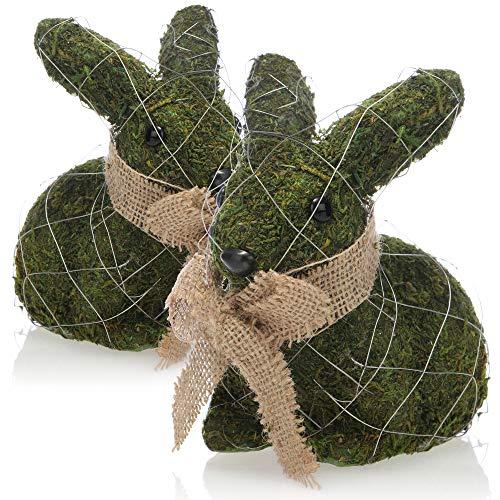 com-four® 2X Conejo de Pascua Decorativo para decoración de Pascua - Figura Decorativa para Pascua - Conejito Decorativo - Conejo con Pelo en Apariencia de Musgo (2 Piezas Conejo 17cm Verde)