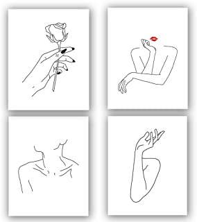 """Nordic Fashion Women's Stick Figure Art Print Set Of 4 (8""""X10"""") Gift For Women Canvas Prints Wall Pictures For Bedroom Home Decor,No Frame"""