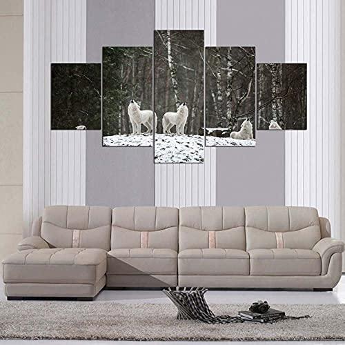 Imagen Sobre Lienzo Cuadros Abstractos Modernos Xxl Poster 5 Piezas Llamada Salvaje De La Manada De Lobos Polares Arte De Pared Imágenes Modulares Sala De Estar Decoración Para El Hogar 150X80Cm