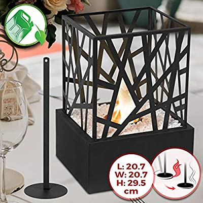 Tabletop Bio-Ethanol Fireplace - 20.7 x 20.7 x 29.5 cm, Stainless Steel Body and Grid, Single Burner, with Extinguishing Tool & Decorative Stones - Portable Fire Pit