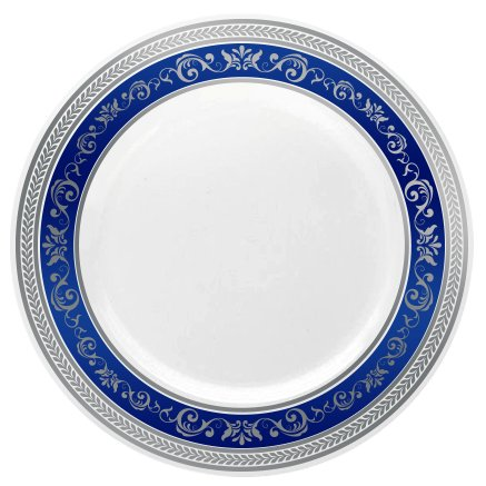 Posh Setting Royal Collection China Look White, Silver/Blue Plastic Plates (Includes 4 Packs of 10.25 Dinner Plates A total of 40 plates) Fancy Disposable Dinnerware