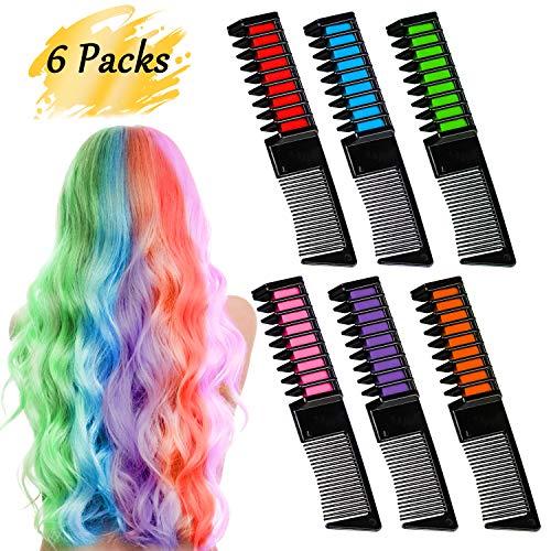 BEARBRO 6 Colores Tizas de Pelo, Peine Temporal Hair Chalk Set, Tinte no tóxico Color de Tiza para niñas y niños Pelo teñido, Fiesta, Navidad y Cosplay