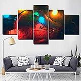 LVQIANHOME Impressions sur Toile Toile Art Imprimé Et Cadre d'affiche Abstrait 5 Panneau Coloré Lampe...
