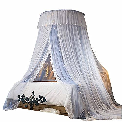 Prinzessin Moskitonetz Spitze Kuppel Bett Vordach Doppelzelt Kinder Fliegen und Insekten Schleier Innen- und Außendekoration Höhe 280cm/110In,Off,White