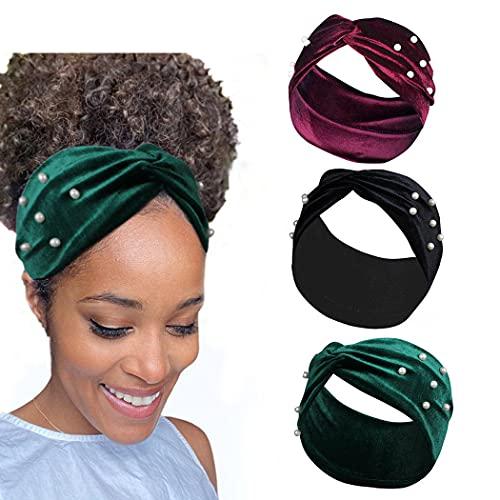 Yean Pearl Headband Yoga Cross - Pañuelos de cabeza de terciopelo elástico rojo para mujeres y niñas (paquete de 3)