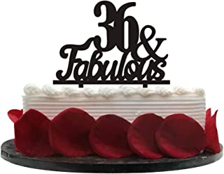 36&Fabulous Birthday Cake Topper | 36th Party Decoration Ideas | Wedding, Birthday, Anniversary, Party Supplies Topper Decoration | Classical Black Acrylic