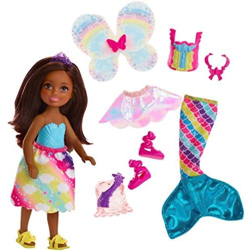 BarbieChelsea Dreamtopia, Bambola con Vestito da Fatina, Coda da Sirena e Accessori, Giocattolo per Bambini di 3+ Anni, FJD01
