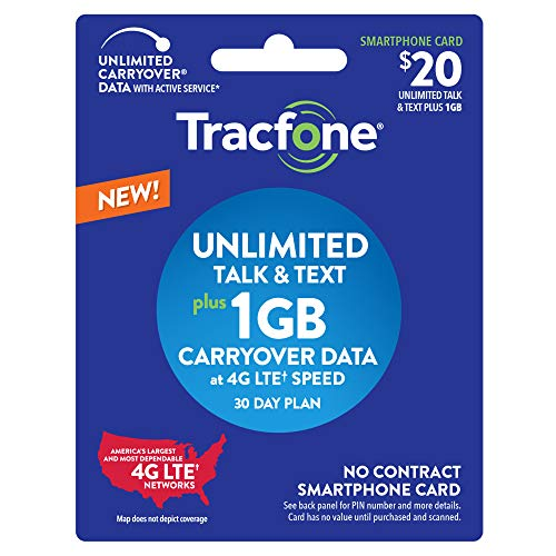 Tracfone $20 Unlimited Talk, Text, 1GB Data - 30 Day Smartphone Plan