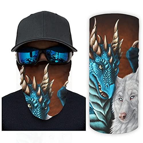 CCMugshop Bandanas Face Gaiter Fantasy Drachen y Wolf Print Magic Headband Gaiter UV Residence White One Size