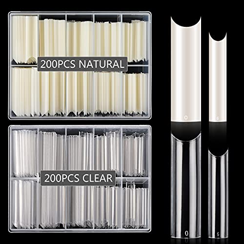 400PCS Extra Long C Curve Nail Tips, 2 Pack Natural and Clear Artificial Acrylic Nail Tips Manicure, 10 Sizes XXL Long Straight Square Shape French Press on False Nail Tips for Nail Art Salon Home DIY