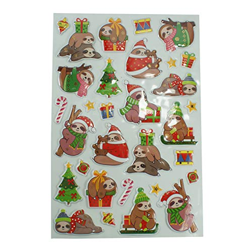 Dazzling Deals Sloth Christmas Pop Up Stickers 31 Count