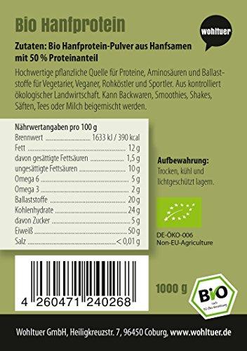 Wohltuer Bio Hanfprotein | Glutenfrei, Cholesterinfrei, Nährstoffreich | Low Carb Food | Vegetarisch und Vegan | vielseitiges Lebensmittel in geprüfter Bio-Qualität (1000g) - 3