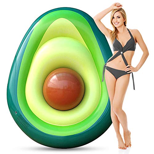 Inflatable Pool Float for Adults, Giant Avocado floaties with Ball, Large Water Rafts Float Toys Funny Pool Party Beach Swimming Lounger Decorations