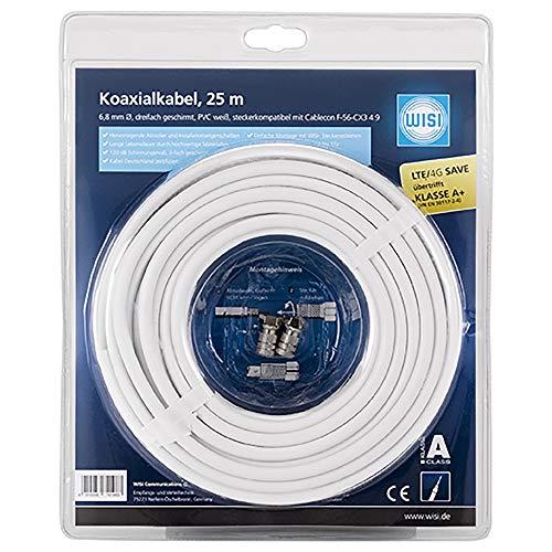 WISI Koaxialkabel MK 96 A 0025 – Antennenkabel 3-fach geschirmt, Klasse A+, >120dB – Brandklasse Dca – Für DVB-T, DVB-T2, DVB-C und DVB-S/S2 – Durchmesser 6,8mm, 25m, weiß