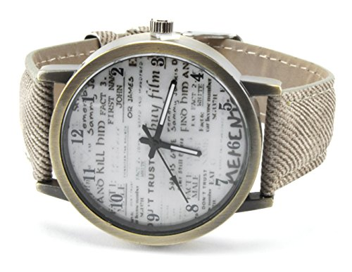 axy Vintage Lederarmbanduhr Serie 6 VINAU6! Damen Leather Bracelet Uhr Armreif (Beige)