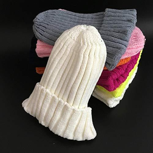 Invierno MujerSombrero de Pom Poms del Sombrero del Invierno de Las Mujeres Muchacha para 's Sombrero del Casquillo del Sombrero de Punto Grueso Gorros MujeresGorros-White-Adult Size