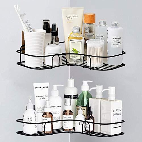 MOIGIN 2-Pack Corner Shower Caddy, Shower Shelf with 8 Pack Powerful Adhesive Hooks, Bathroom Shower Organizer Storage for Toilet, Kitchen and Dorm.